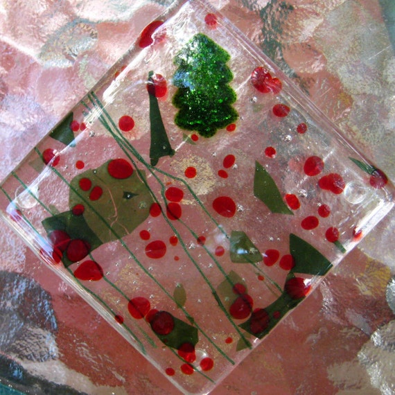 Holiday Holly Berry Fused Glass Coaster Set of Four, Christmas Coasters