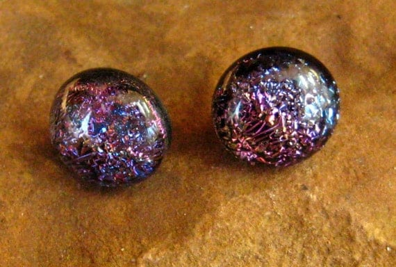 Midnight Rainbows Dichroic Fused Glass  Post Earrings