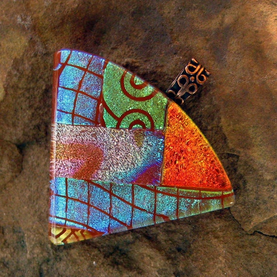 Dichroic Jewelry Fused Glass Pendant - Caramel Fan