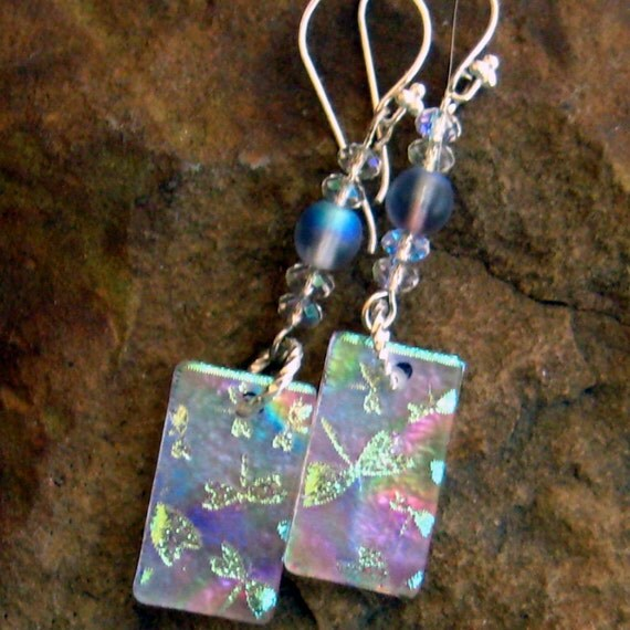 Dichroic Fused Glass Drop Earrings - Rainbow Dragonflies