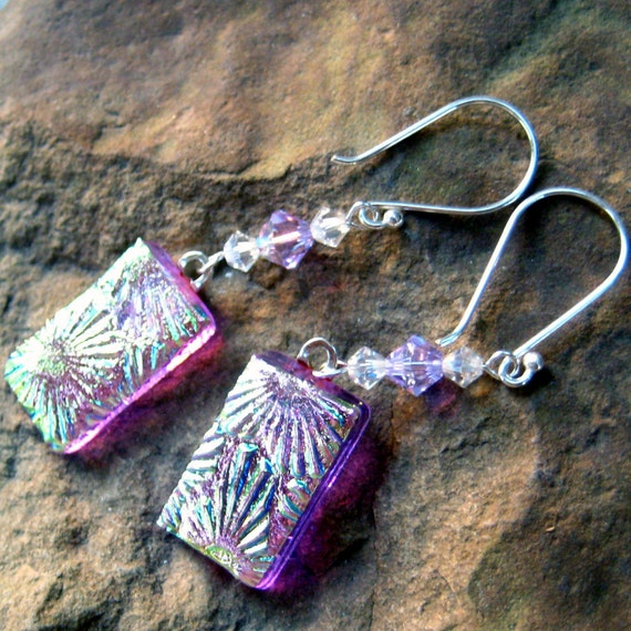 Dichroic Fused Glass Drop Earrings -Purple Flowers