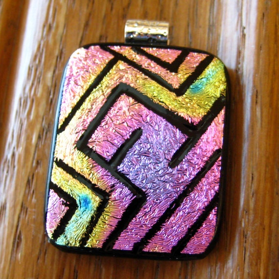 Dichroic Fused Glass Zentangle Pendant, Fused Glass - Pink Maze
