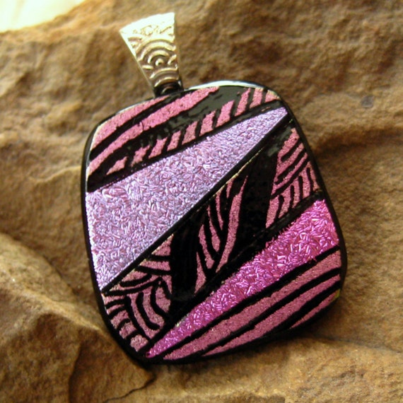 Dichroic Fused Glass Zentangle Pendant, Fused Glass - Purple and Pink