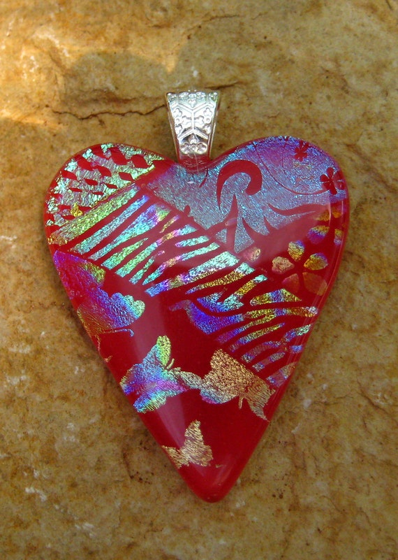 Dichroic Fused Glass Heart Pendant, Patchwork Dichroic Glass Heart Pendant, Red Heart Pendant