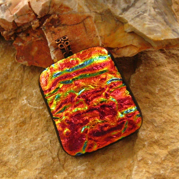 Dichroic Fused Glass Jewelry, Fused Glass Pendant,   - Copper Luster