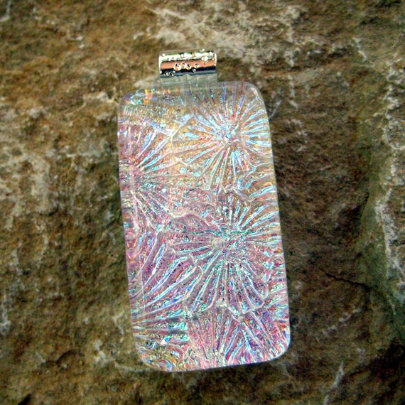 Dichroic Fused Glass Pendant , Fused Glass Pendant, Glass Jewelry, Rectangle Pendant - Rainbow Flowers