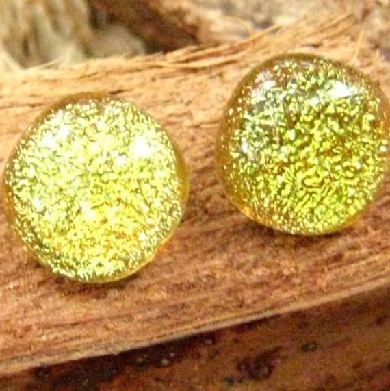 Lemon Yellow Dichroic Fused Glass Button Earrings
