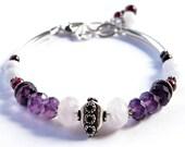 EMMA Fertility Bracelet in Sterling Silver- Amethyst, Rose Quartz, Garnet, Blue Lace Agate