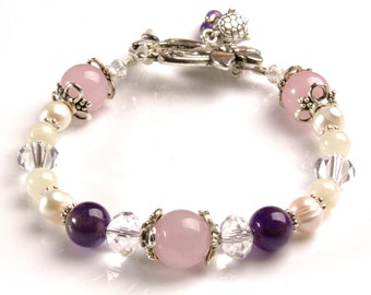 Luna Love Fertility Bracelet -LUNA with Amethyst  Rose Quartz Moonstone Pearls Crystals-pregnancy and childbirth bracelet