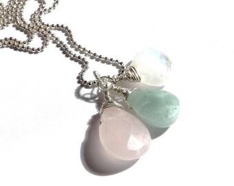 LAYLA Sterling Fertility Pregnancy Necklace- Rose Quartz, Amazonite and Moonstone