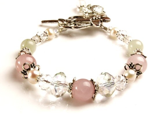 Hera Fertility Bracelet- Green Aventurine, Rose Quartz, Moonstone, Pearls, Crystals