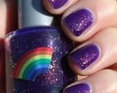 Centaur Pee purple and iridescent glitter nail polish