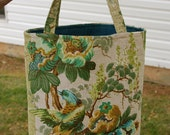 Triple Tweety Teal and Tan Vintage Fabric Tote