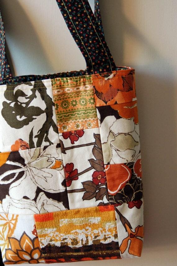 Brown Sugar Vintage Fabric Patchwork Tote