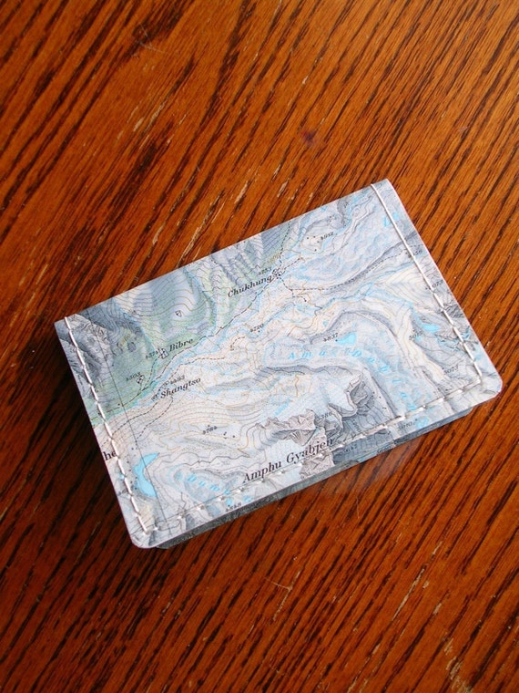 Mount Everest Map Wallet, Mini-Wallet, Business Card Wallet, Credit Card Wallet, repurposed