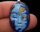 Blue Lady STEAMPUNK Face PENDANT or BEAD in Cobalt Blues Polymer Clay