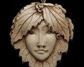 Mulberry Leaf Lady Goddess Face PENDANT or BEAD hand painted polymer clay