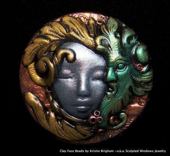 The Greenman Wispers into her Ear Metalic Goddess Face Cameo Cab CABOCHON