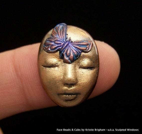 Small Butterfly Kisses Goddess Fairy Face Cab Cabochon Bronze Metallic Polymer Clay