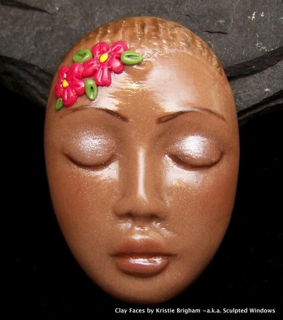 Flower Goddess Lady FACE CAB Cabochon Brown Ethnic fleshtone Polymer Clay