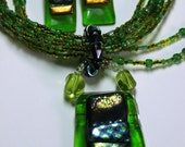 Eye-catching lime green Pendant and Earrings