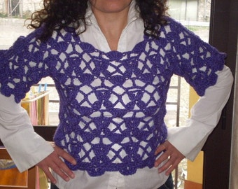 Purple and Lilac Crochet Sweater