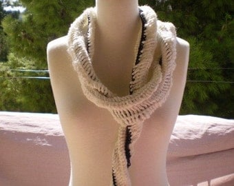 READY TO SHIP - Sale - Black and White Swirl Snake Scarf