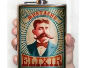Mustache Elixir - Stainless Steel flask - 8oz.