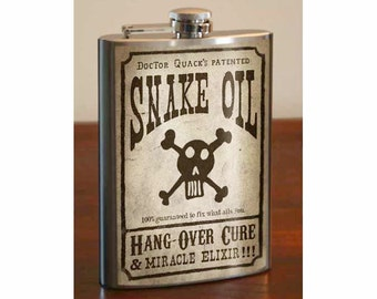 SNAKE OIL - Stainless Steel Flask -  8oz.