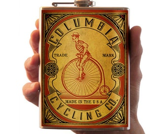 Columbia Cycling Co. - 8oz Stainless Steel Flask - comes in a GIFT BOX -  by Trixie & Milo
