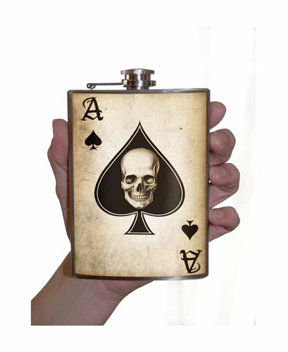 Ace of Spades - Stainless Steel flask -  8oz.