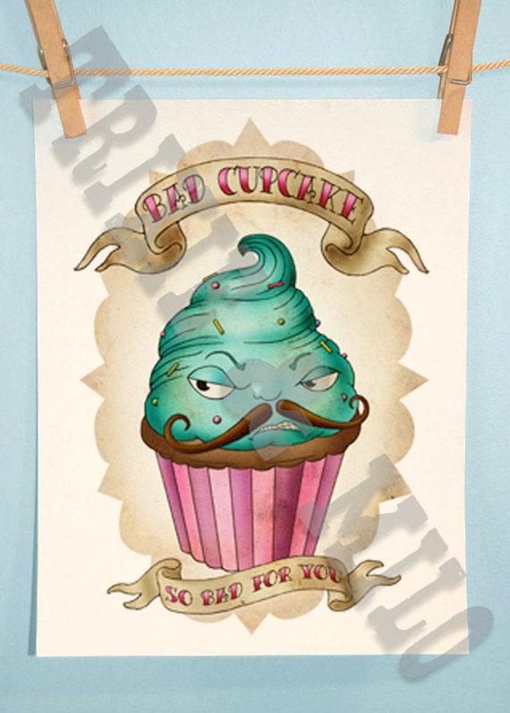 Cupcake Art Design : Bad Cupcake 5x7 print tattoo design flash art