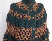 RAINBOW  PONCHO--STRIPED    crochet-handmade