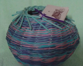 Hand Woven Berry Basket --- very colorful and unique