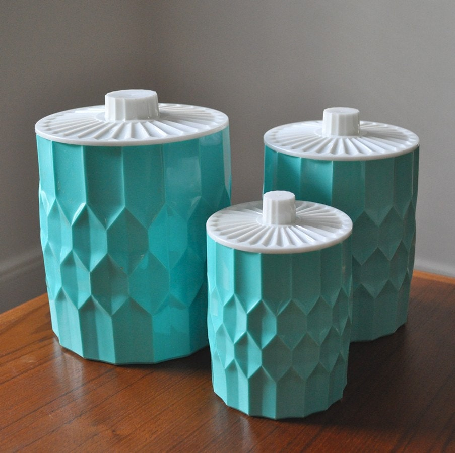 Set Of 3 Sweet Vintage Honeycomb Canisters
