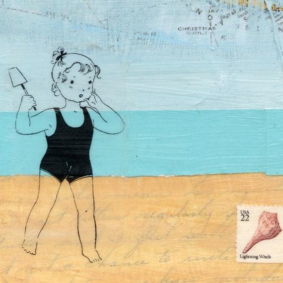 Charlie girl looks for sea shells