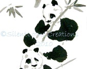 Lunch of Bamboo- 4x6 Print of Original Brush Painting (small)