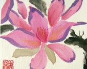 PIF for OIL SPILL RECOVERY-  Sweet Pink-Original Chinese Brush Painting