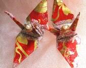Fortuny Vines Wedding Cake Topper Peace Crane Christmas Ornament Table Decor Party Favor Origami Paper Anniversary Bird Grape Vineyard Wine