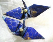 Honeycomb Beekeeping Wedding Cake Topper Party Favor Peace Crane Origami Japan Paper Bird Christmas Ornament Royal Purple Gold Decoration