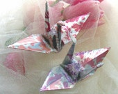 Ombre Opal Peace Crane Bird Wedding Cake Topper Party Favor Christmas Origami Ornament Japanese Paper Decoration