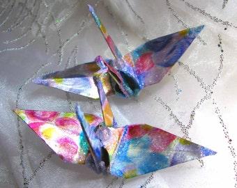 Dame Elizabeth Taylor Peace Crane Wedding Cake Topper Party Favor Origami Christmas Ornament Japan Bird Paper Place Card Holder Decoration
