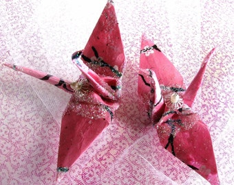 Sakura Pink Peace Crane Bird Wedding Cake Topper Favor Origami Christmas Ornament Bird Cherry Blossom Lotka Paper Place Card Holder Decor