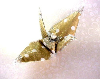 Polka Dots Peace Crane Bird, Wedding Cake Topper, Origami Ornament Japan Gold Paper 1st Anniversary Place Card Holder Christmas Decoration