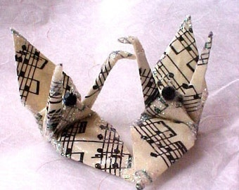 Music Peace Crane Bird Wedding Cake Topper Party Favor Origami Christmas Ornament Japanese Sheet Score Paper Place Card Holder Decoration