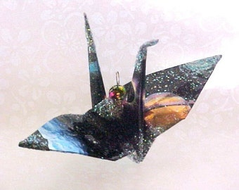 Galaxy Peace Crane Bird, Wedding Cake Topper,  Party Favor Origami Christmas Ornament Japan Paper Place Card Holder Decoration Constellation