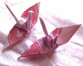 Pink Peacock Peace Crane Bird, Wedding Cake Topper, Party Favor Christmas Ornament Japanese Origami Eco Friendly Pink Table Decoration