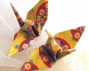 Bollywood Festival Peace Crane Bird Wedding Cake Topper Party Favor Origami Christmas Ornament Japanese Paper Yellow Orange Table Decoration