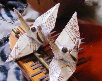 Sepia Tone Music Peace Crane Bird Christmas Ornament Wedding Cake Topper Party Favor Origami Place Card Holder Sheet Score Table Decoration