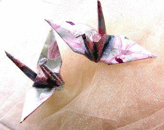 Purple Orchid Wedding Cake Topper Peace Crane Party Favor Origami Christmas Ornament Japanese Bird Paper Anniversary Place Card Holder Decor